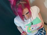 Pink Hair Slut Takes a Massive Facial