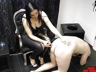 Amateur Bdsm Femdom video: German domina slave torture with Cigarette and pain
