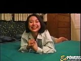 Vintage Asian teen takes it up her hairy twat super hard