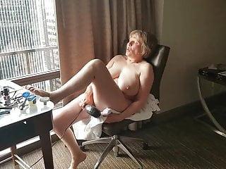 Flashing Mature video: Mature hotel window exhibitionist cumming so hard