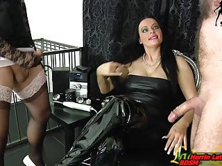 Amateur Bdsm Femdom video: Slave and tranny masturbation contest for german domina
