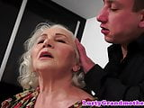 Beautiful old lady seduces her young lover