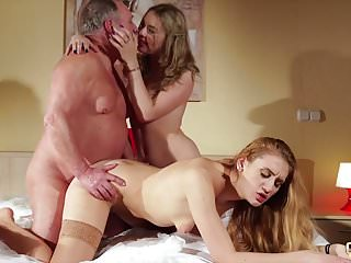 Teens get oral creampie from grandpa and ride his cock