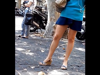 Candid Hot Legs At Bus Stop