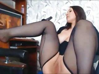 Chubby Brunette Girl Masturbating to Porn more