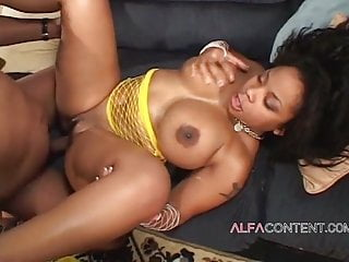 Curvy ebony letting her lover fuck her ass...