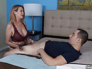 point of view Busty Milf Punishes Younger Couple