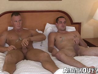 Army buddies masturbate and bareback fuck together
