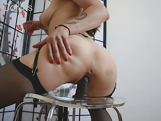She rides chair until hard...