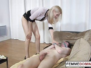 Domme fingers sub before pegging his anal