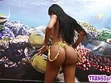 Bootylicious latina trans babe jerking off in solo