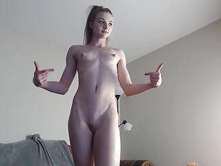 Small narrow blond skinny jugs laborious nipples cameltoe vagina