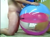 Big inflatable beach ball fuck cum inside