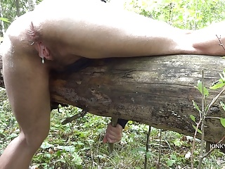 Voyeur POV of creampied FTM cunt & spanking in a forest