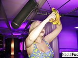 Nadia White stuffs her hungry holes with very ripe bananas!