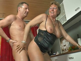 Hot mom German couple pound together with shower each other
