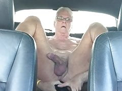 grandpa puts a big black dildo up his ass in the carfree full porn