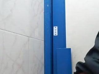 Boy is fucking with dildo in bathroom