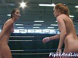 Glam dykes wrestle on the floor