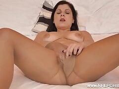 She Masturbates with dildo in ripped Pantyhose