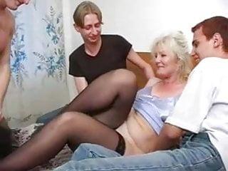 sexy grandma Lena and three fuckers