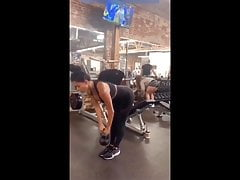Nicole Scherzinger sexy workout in tight black outfit at gym