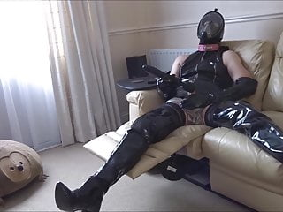 Pvc thighboots stockings big vibrator...