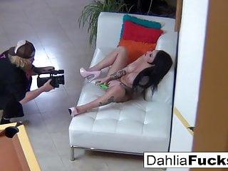Dahlia Watches Christy on set