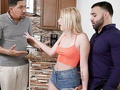Nasty blonde Dixie Lynn caught sucking dick by stepdad