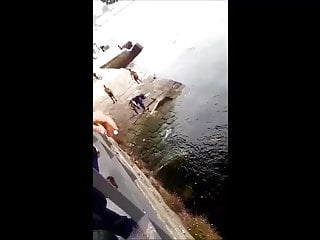 Portuguese Sexy teen Hottie Strips And Jumps From A Bridge