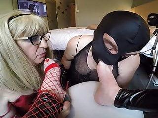 Licking mistress feet...
