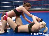 Wrestling redhead pleasured in closeup