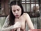 Tattooed oral slave Karma cumswallows