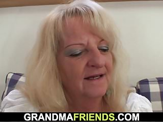Threesome with boozed blonde granny