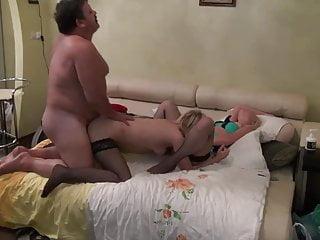 Old man fucks two sluts in stockings