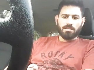 hot guy with fat uncut cock and lowhangers jerks off in car