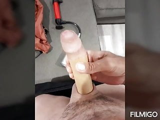 Playing with and pumping my horny cock on...