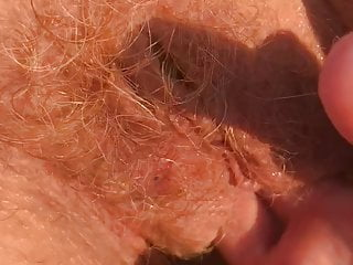 The sound of my mature wife's red hairy pussy
