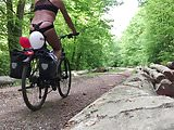 Bicycle tour in the woods naked. Nackt im Wald
