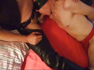 Tied fag sucking Sirs cock