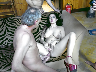 Teen has saggy tits gangbanged without condom...