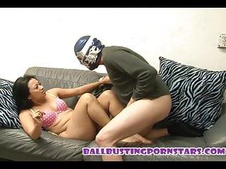Ballbusting with the naked burglar...