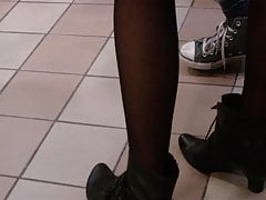 Candid Lengthy Gams In Stocking And Footwear At Mc Donalds