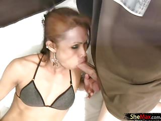 Model thin body gets her mouth full of...
