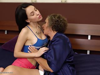 Granny at with busty girl...