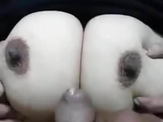 indian man cumming on her colossal titties