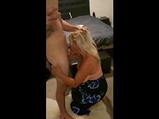 Blonde cougar sucks young big cock, hot