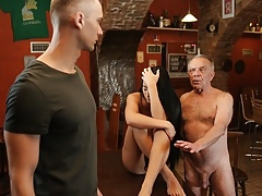 DADDY4K. Stocky old man properly fucks son's black-haired GF