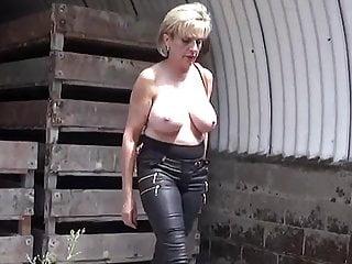 Nude striptease in public...