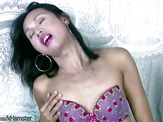 Asian tranny fondles her balls cameltoe and jerks...